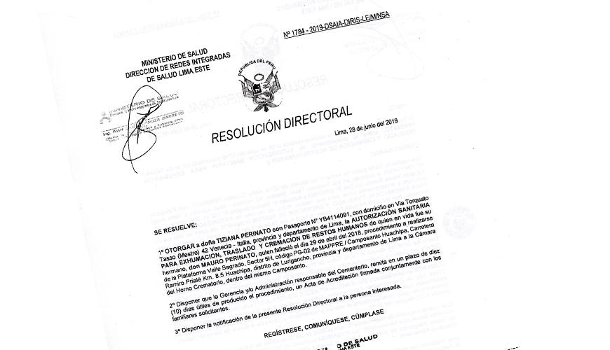 Direccion de Salud de para Exhumacion de cadaver